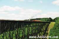 Kinzua Bridge with steam train