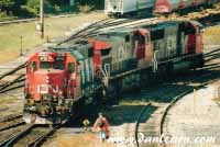 CN locomotives in yard