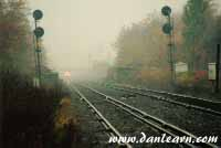 Train in thick fog
