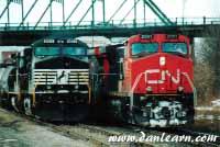 NS & CN trains meet