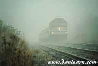 Amtrak in very heavy fog