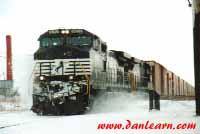 NS train kicking up snow