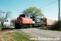 CN train in rural Niagara Falls