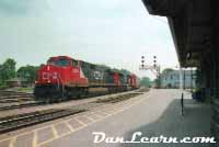 Train passing Brantford station