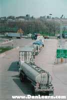 Trucks lined up at border